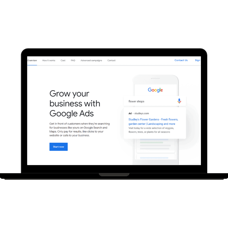 Google Ads homepage on a laptop