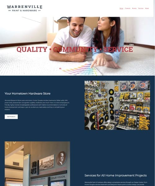Warrenville Hardware Website homepage screenshot